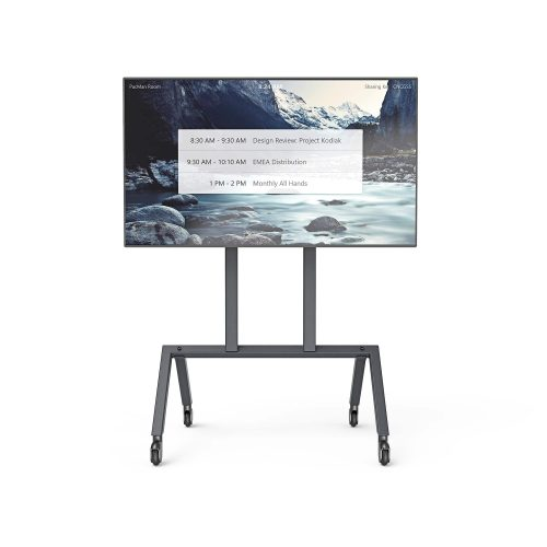 Heckler Design Single Display AV Cart Facing Forward with Display Powered On