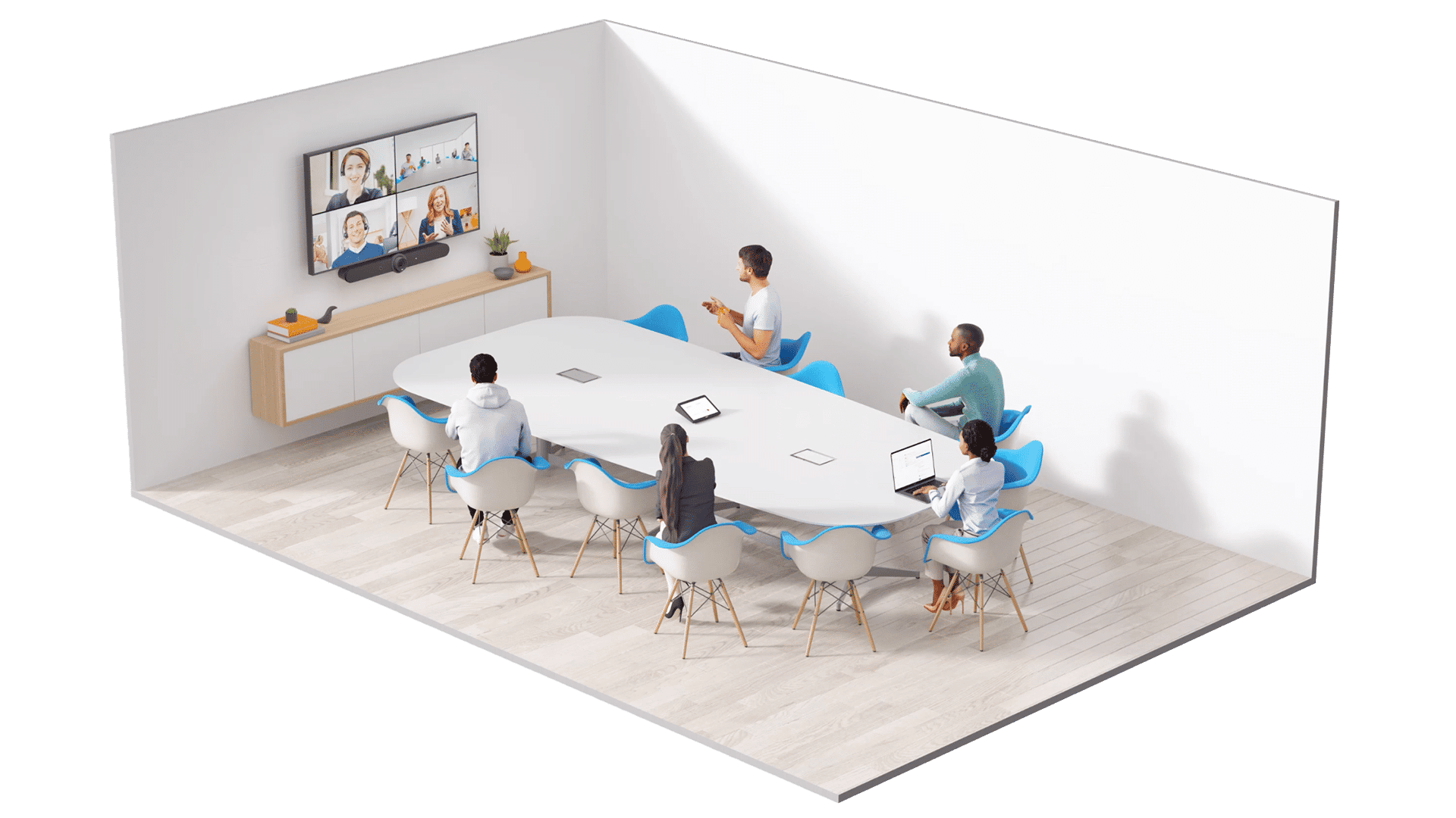 Logitech Rally Bar in a blue Conference Room