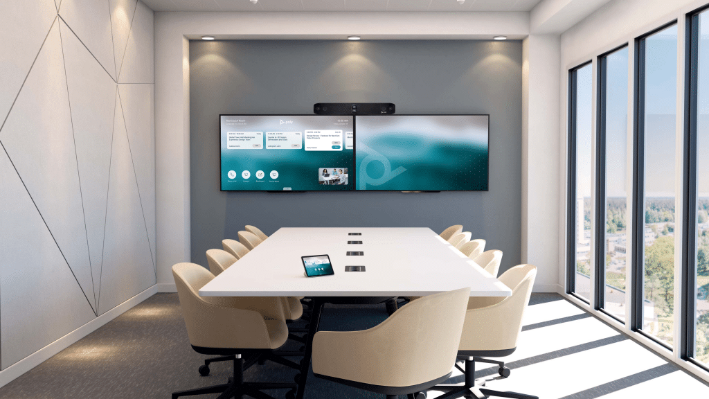 Conference Room with Studio X70 Mounted on Dual Monitors